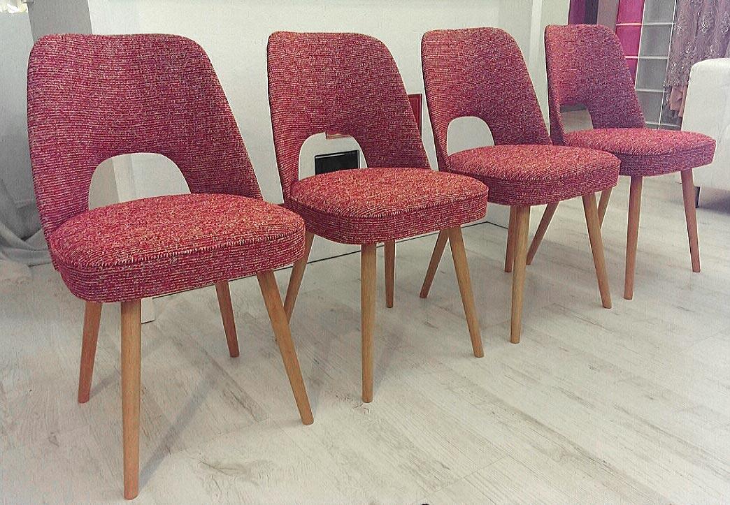 Retro židle, 70.léta - nové čalounění.<br>Látka ROMO - kolekce MARLOW