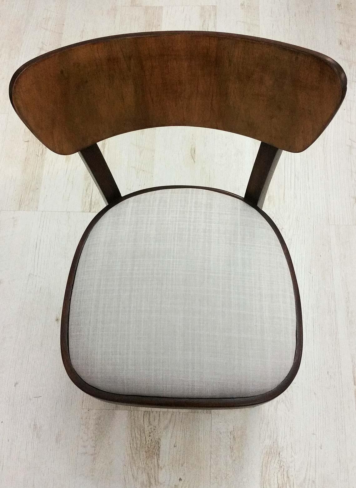 Židle Thonet - kompletní renovace, broušení, lakování, čalounění. Látka Romo - kolekce  Dune