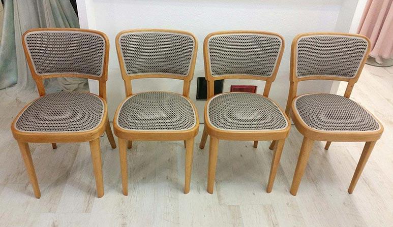 Židle Thonet - kompletní renovace, broušení, lakování, čalounění. Látka ROMO - kolekce  MARLOW